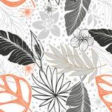 Vector o teste padrão tropical brilhante artístico bonito sem emenda com banana, folha do Syngonium e do Dracaena, divertimento d ilustração do vetor