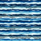 Vector o teste padr?o sem emenda do mar com texturas tiradas m?o Projeto abstrato moderno ilustração stock