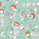 Vector o teste padrão com a princesa bonito da menina, instrumentos musicais flores, nota, estrelas e corações Ilustração colorid Fotos de Stock Royalty Free