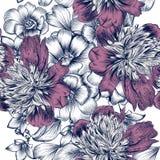 Vector o teste padrão sem emenda com rosas e flores da peônia no gravado Fotografia de Stock Royalty Free