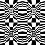 Vector o teste padrão trippy da geometria psychadelic abstrata do moderno com 3d ilusão, fundo geométrico sem emenda preto e bran Imagens de Stock