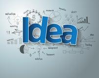 Vector o texto da ideia com cartas e gráficos criativos do desenho Foto de Stock