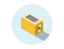 Vector o torradeira amarelo isométrico, ícone do equipamento da cozinha Fotografia de Stock Royalty Free