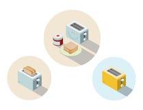 Vector o torradeira isométrico, ícone do equipamento da cozinha, elemento home do construtor Imagens de Stock