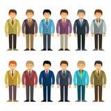 Vector o trabalhador de escritório ou o jogo de caracteres caucasiano do homem de negócios no estilo liso dos desenhos animados ilustração stock