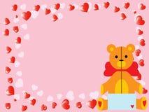 Vector o urso de peluche do `s do Valentim na cor-de-rosa Fotos de Stock Royalty Free