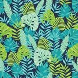 Vector o verde e o teste padrão sem emenda havaiano dispersado azuis marinhos do verão tropical Fotos de Stock