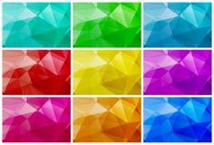 Vector o vidro lustroso de fundos poligonais das cores diferentes ilustração do vetor