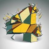 Vector o wireframe dimensional número 4, dígito demulido colorido ilustração stock