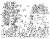 Vector o zentagl da ilustração, menino com um coelho na natureza perto do alojamento nas flores Desenho da garatuja Exercícios me ilustração stock