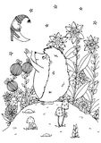 Vector o zentagl da ilustração, o ouriço e a lua nova nave Imagens de Stock Royalty Free