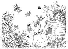 Vector o zentangl da ilustração, canil do cão e nas flores Desenho floral da garatuja Exercícios meditativos Livro de coloração Imagens de Stock