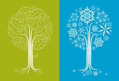 Vector oak tree in different seasons Royalty Free Stock Photo