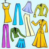 Vector object series. A set of 9 vector illustrations of women's fashion dresses, skirts, pants, blouses and jackets. EPS file available stock illustration