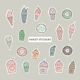 Cakes, ice cream and donuts set. Stickers design. royalty free illustration