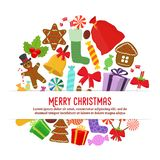 Vector collection of Christmas objects for poster, banner royalty free stock images