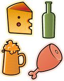 Vector objects of drink and food Royalty Free Stock Photography