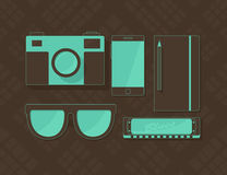 Vector objects in hipster style in brown and blue colors Stock Photography