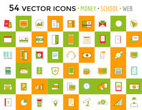 Vector objects icons set. Business or School and. Money symbols. Stock design elements Royalty Free Stock Image