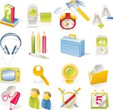 Vector objects icons set. Part 2. Set of colorful and bright icons Stock Photography