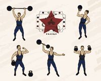 Strongmen with mustache . Retro circus performance. Color pen style drawing royalty free illustration