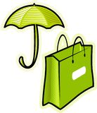Vector objects umbrella and paperbag. Vector illustration, objects for lady Stock Image