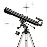 Vector observing telescope. Royalty Free Stock Photos