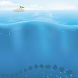 Vector Oceaanachtergrond met copyspace Stock Fotografie