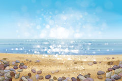 Vector  ocean   beach and stones. Royalty Free Stock Images