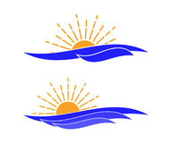 Vector ocean waves and sun icon. Template for logo of tour company, rest area, etc. Isolated on white. Stock Image