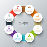 Vector octagon with circles for infographic. Vector octagon with circles elements for infographic. Template for cycling diagram, graph, presentation. Business royalty free illustration