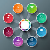 Vector octagon with circles for infographic. Royalty Free Stock Images