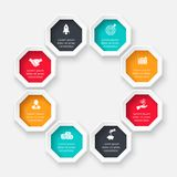 Vector octagon for infographic. Template for cycle diagram, graph, presentation and chart. Business concept with 8 options, parts, steps or processes. Abstract stock illustration