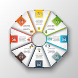 Vector octagon infographic. Template for cycle diagram, graph, presentation and chart. Business concept with 8 options, parts, steps or processes. Data stock illustration