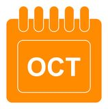 Vector october on monthly calendar orange icon. Simple vector illustration of october on monthly calendar orange icon on white background vector illustration