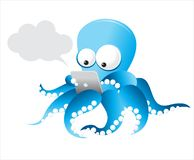 Vector Octopus with tablet Royalty Free Stock Photo