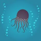 Vector octopus in water of sea or ocean Stock Photography