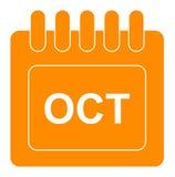 Vector octubre en icono mensual de la naranja del calendario ilustración del vector