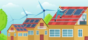 Free Vector Of A Worker On The House Roof Installing Solar Panels Stock Photo - 220323190