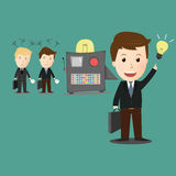 Vector Of Idea Maker Machine With Businessman