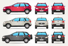 Vector Off-road Car - Side - Front - Back view. Vector icon of off-road or SUV car from 3 views - Front, Rear and Side and in 3 colour version - Red, silver and Royalty Free Stock Photos