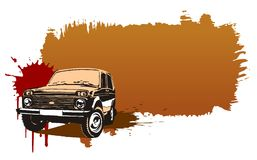 Vector off road vehicle 4x4. Vector illustration off-road russian `Niva` with grunge background. Available EPS-8 format royalty free illustration