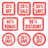 Vector off or sale, discount and bonus stamps Royalty Free Stock Photography