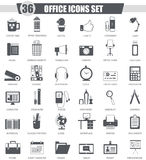 Vector Office black icon set. Dark grey classic icon design for web. Stock Images