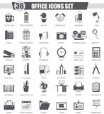 Vector Office black icon set. Dark grey classic icon design for web. Royalty Free Stock Image