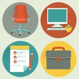 Vector office and business icons. And concepts in flat style Royalty Free Stock Images