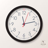 Vector office clock. Classic watch isolated on white background Stock Image