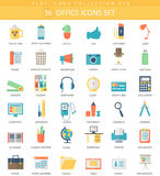 Vector Office color flat icon set. Elegant style design. Stock Photo