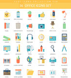Vector Office color flat icon set. Elegant style design. Stock Image