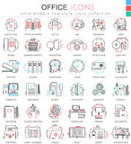 Vector Office color flat line outline icons for apps and web design.Office elements tools icons. Royalty Free Stock Image